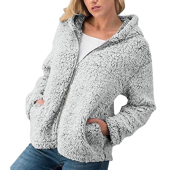 Winter Casual Warm Zipper Jacket Solid Outwear Coat Overcoat