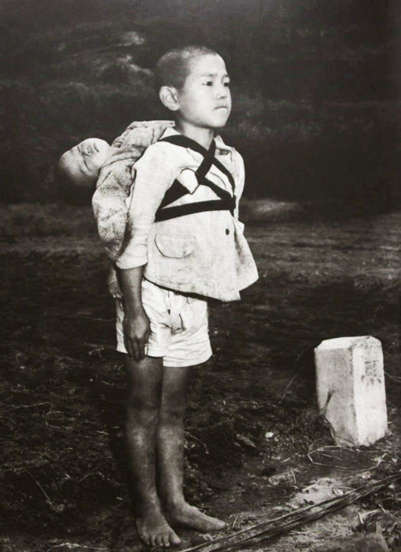 japanese retro porn A Japanese boy standing at attention after having brought his dead younger  brother to a cremation