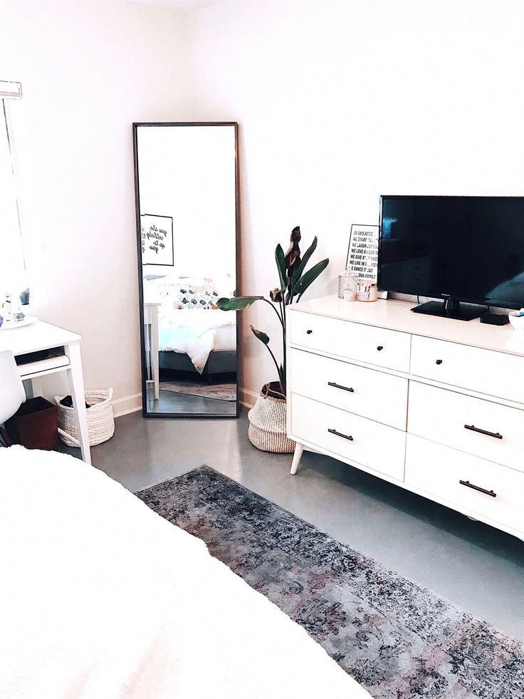 - Clean aesthetic bedroom | @blairewilson fresh, bedroom, white, minimal, plant, room makeover, full length mirror, area rug, tv, aesthetic, home, inspo, inspiration, goals, style, cozy, loft style, blaire wilson room, blaire wilson bedroom, all white, boho, modern, blogger, organized, tidy, urban outfitters, living spaces, home good, amazon, ideas | room ideas aesthetic white and plants #bedroom #HomeDecorbedroom #travel #lessismore #furniture #instahome #mebel #homedecor #design #living #decor