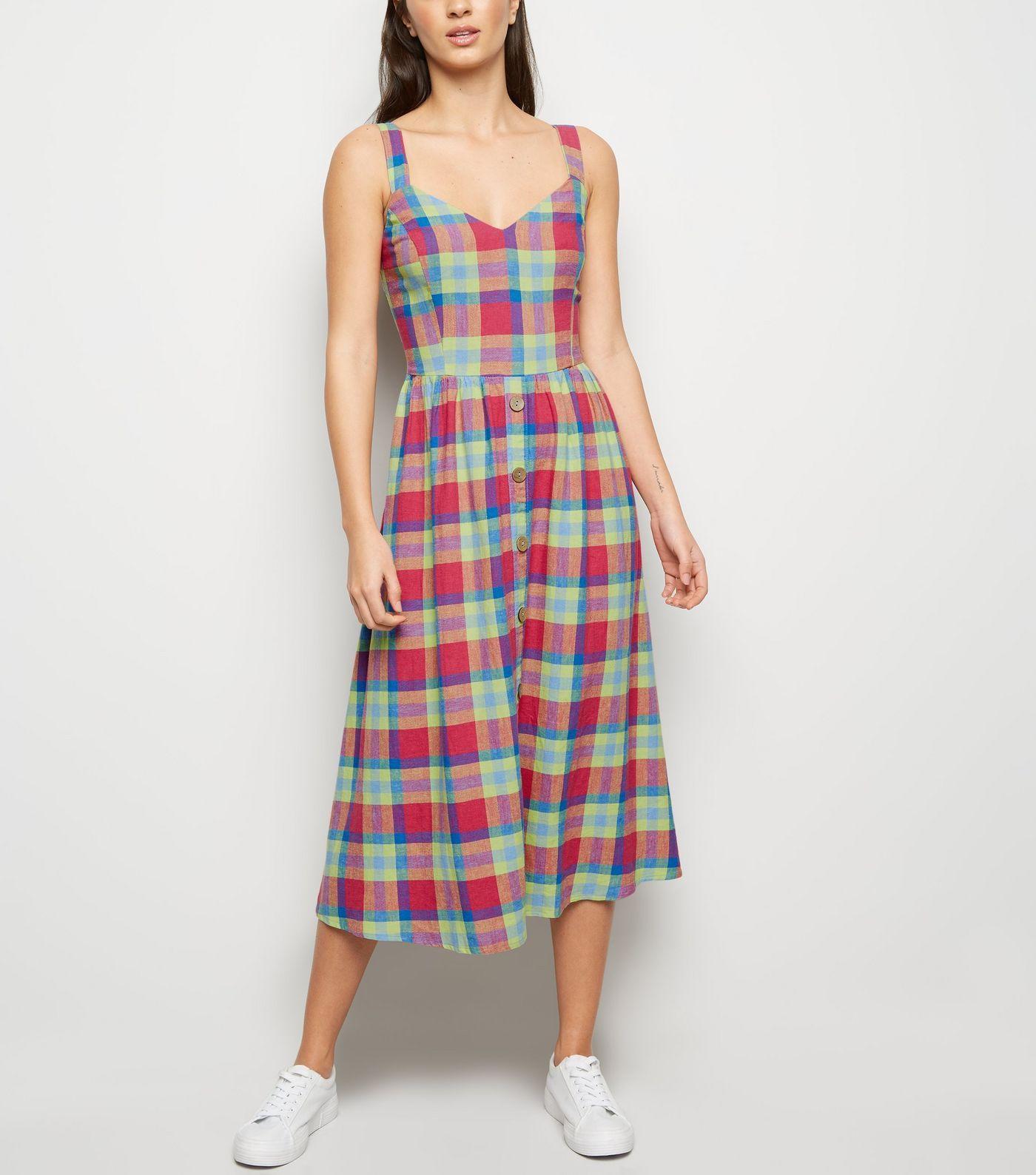 60fce775cd5d4 Multicoloured Check Linen Blend Midi Dress in 2019 | what to wear ...