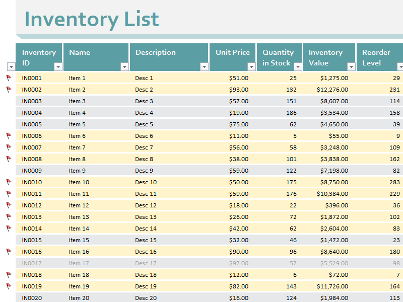 office inventory spreadsheet