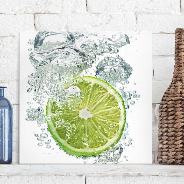 Glasbild Küche - Lime Bubbles - Quadrat 1:1 | Glasbilder küche ...