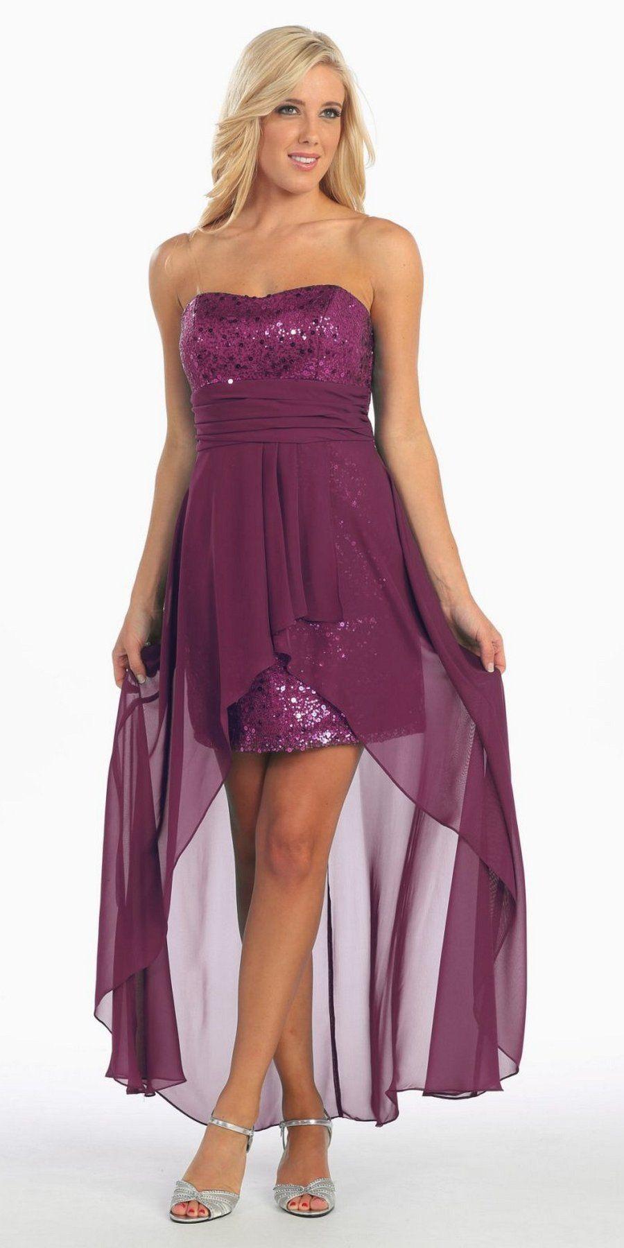 High Low Plum Sequins Dress Strapless Chiffon Hi Lo Overlay ...