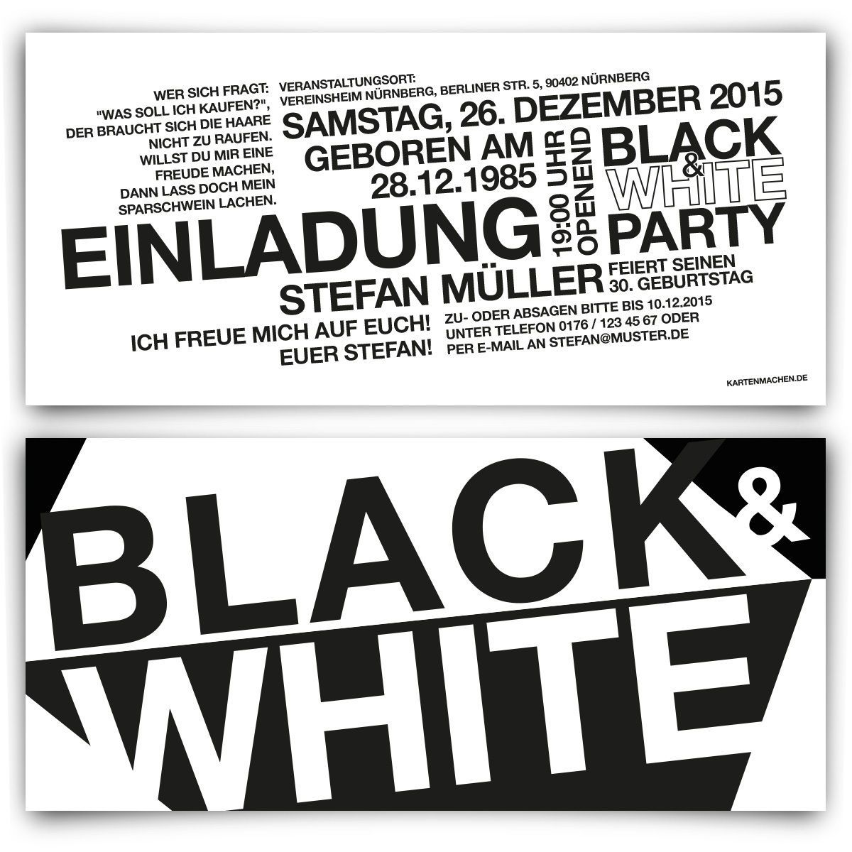 Einladungen Zum Geburtstag Schwarz Weiss Black White Party