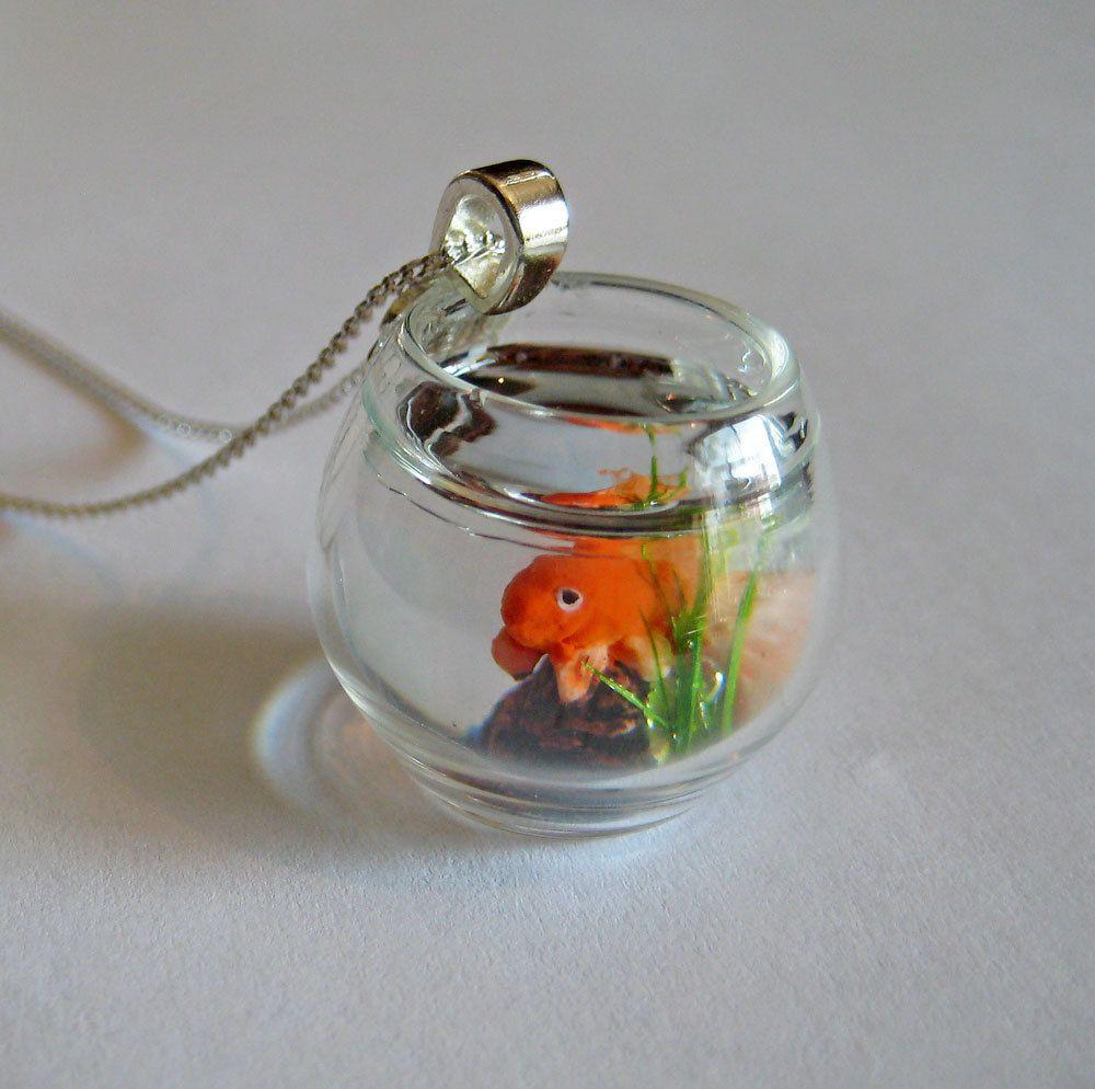 Miniature pet goldfish bowl necklace bottle charms for Mini fish bowls