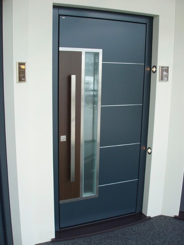 Modern Stainless Steel Entry Entrance Glass Timber Store Front Door