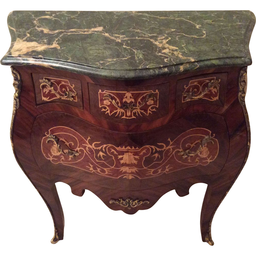 Awesome French Bombe Commode With Marquetry And Green Marble Top In Louis XV Style