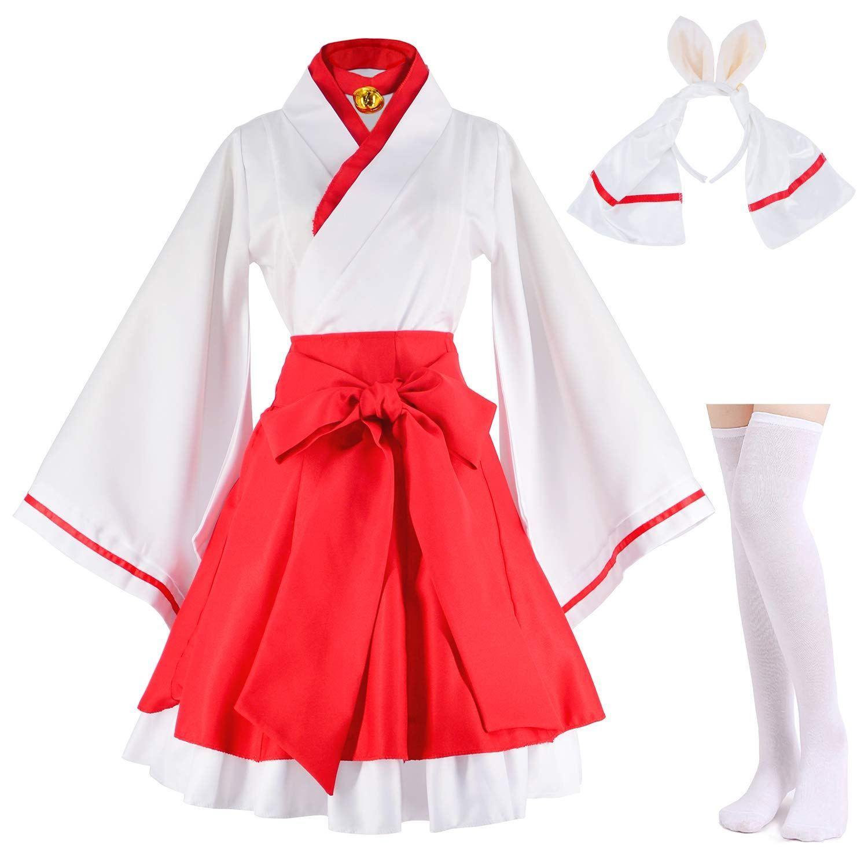 Japanese anime red and white kimono fox cosplay costume