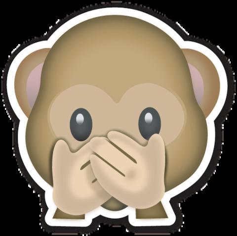 Speak No Evil Monkey Emojistickers Com Monkey Emoji Emoji Emoji Stickers