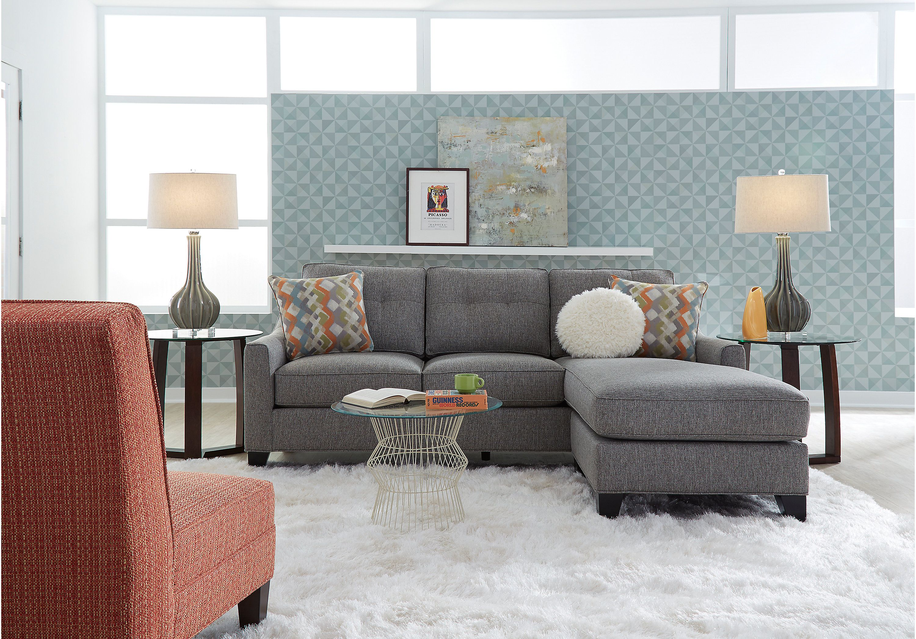 Cindy Crawford Home Madison Place Gray 2 Pc Sectional