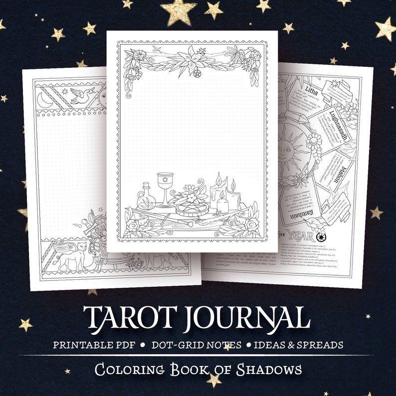 Coloring Book Of Shadows Tarot Journal Etsy Book Of Shadows Printable Coloring Book Coloring Books