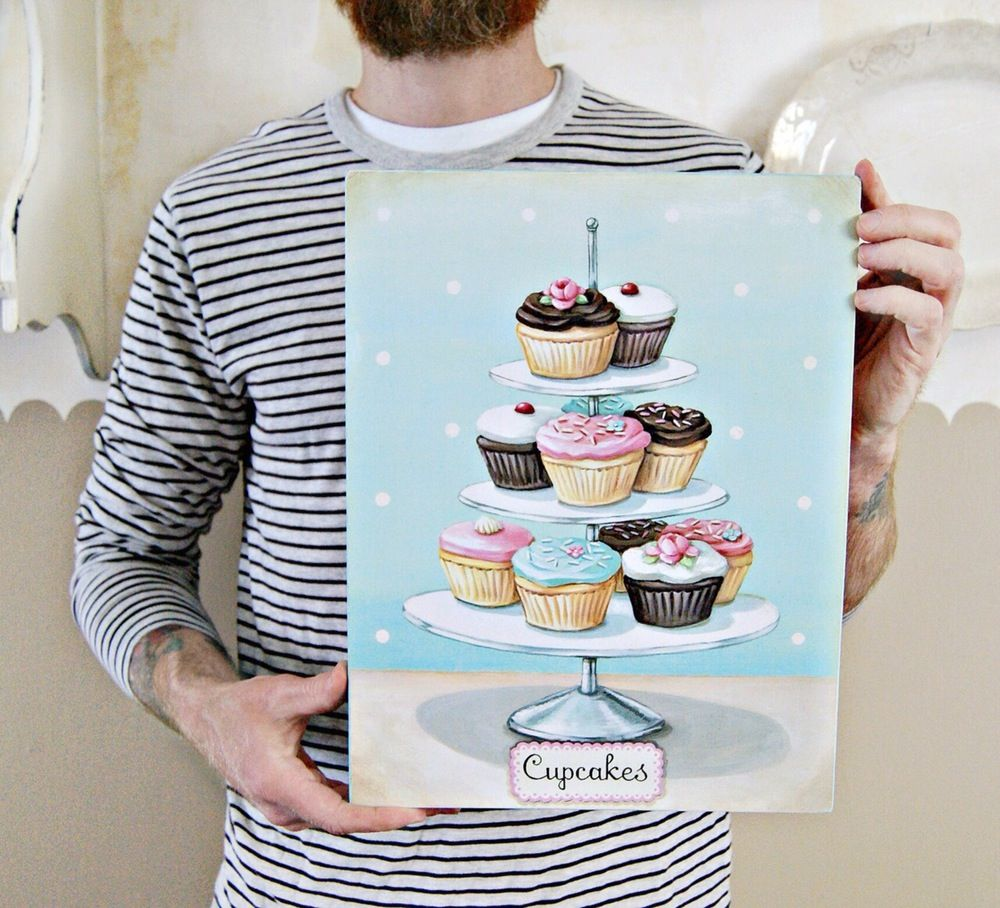 """Image of """"Cupcakes"""" 11x14 wood plaque"""