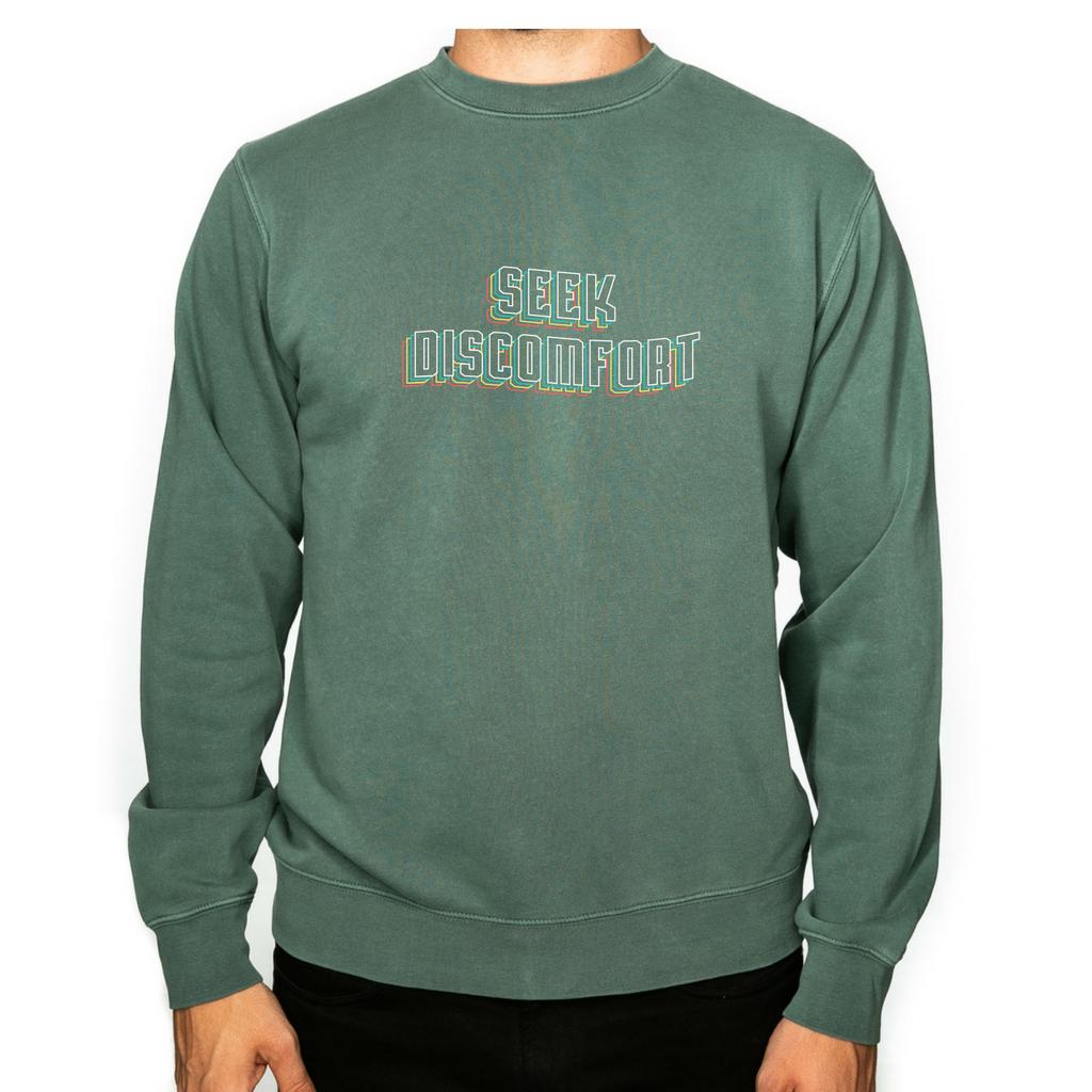 0501df12f7d65b Seek Discomfort 3D Crewneck (Pigment Alpine Green)
