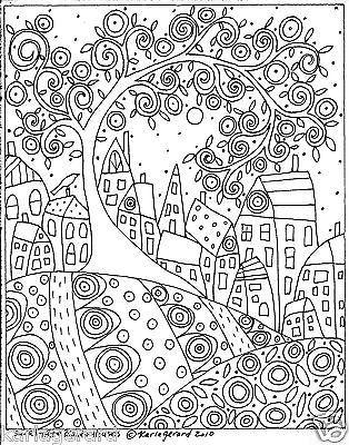 Rug Hook Craft PAPER PATTERN Swirl Tree Bird and Houses FOLK ART ...
