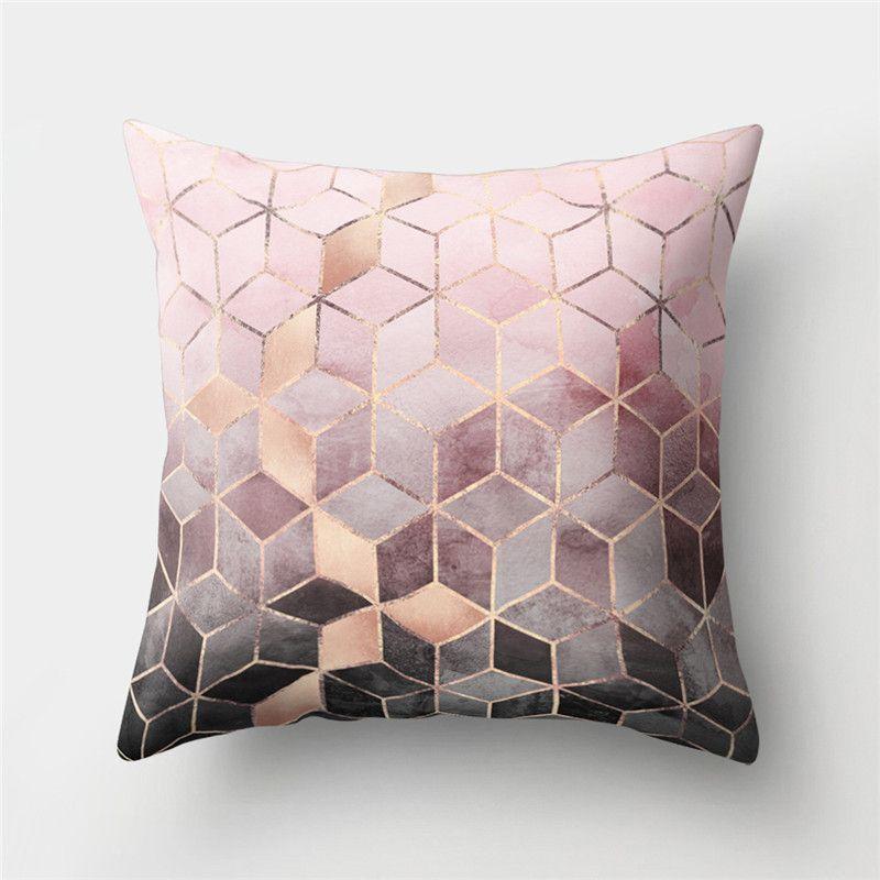 Blush Copper And Grey Cushion Geometric Cushions Geometric Pillow Cushions On Sofa