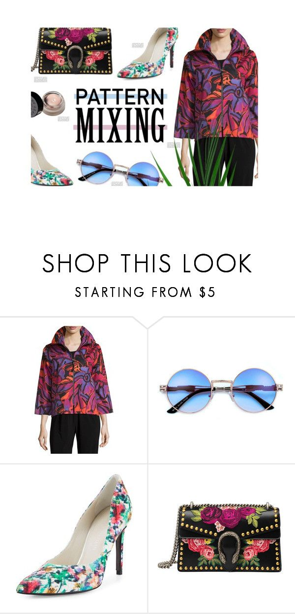 """""""Flower Power"""" by minapap ❤ liked on Polyvore featuring Caroline Rose, Stuart Weitzman, Gucci, Oris, contest and patternmixing"""