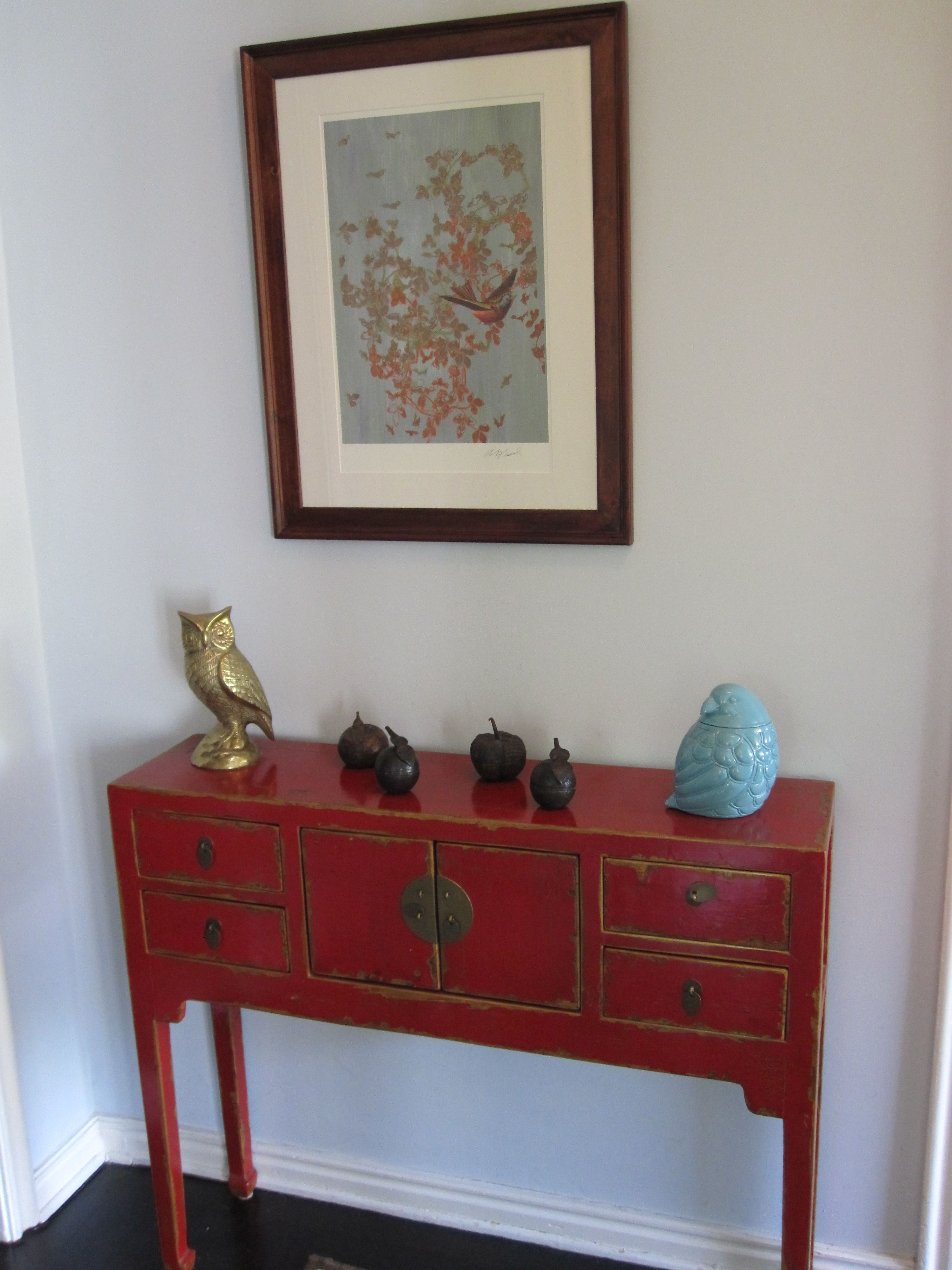 Small Oak Foyer Table With Drawer And High Shelf Entry Console