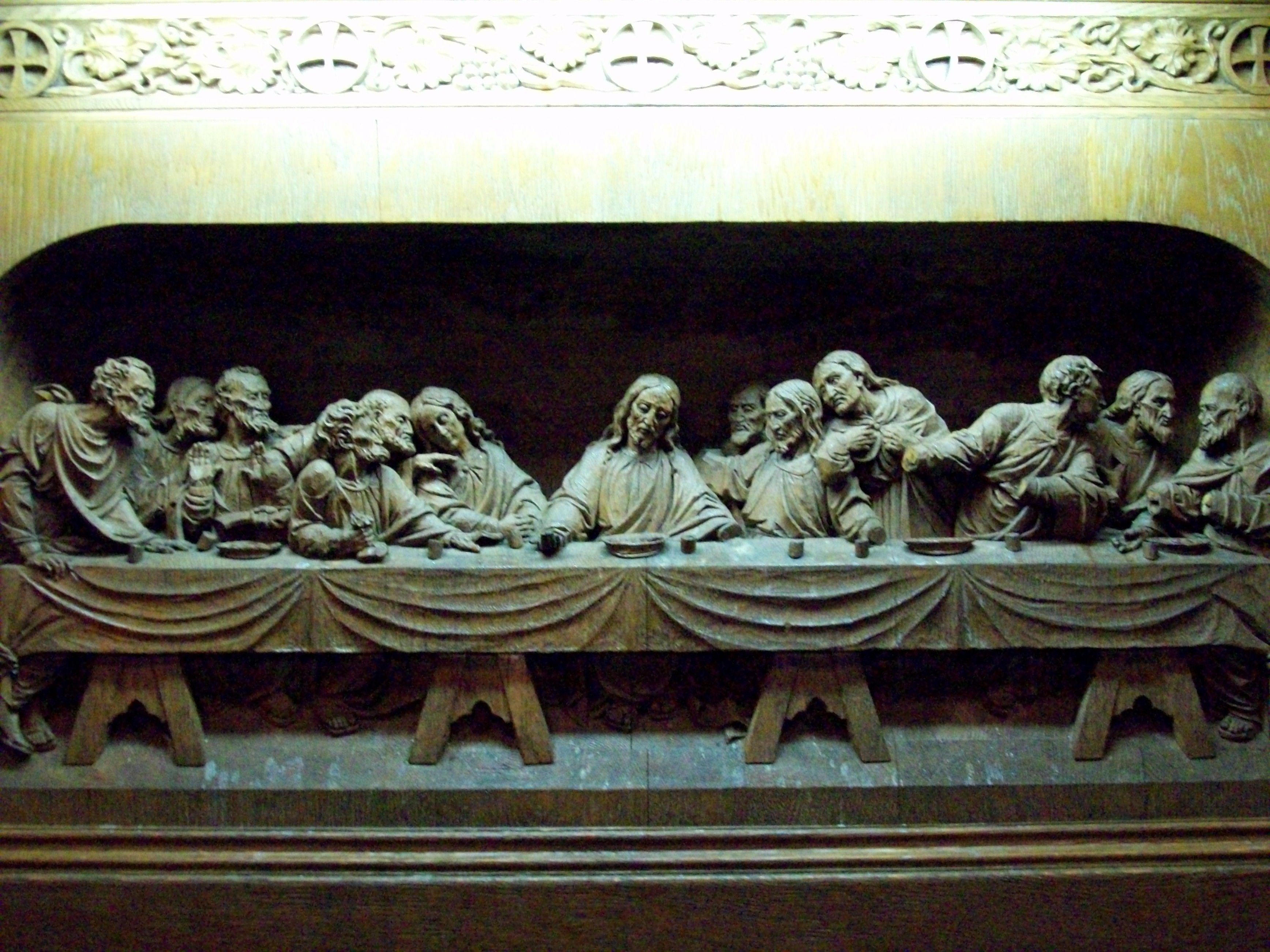 The last supper artwork wood carving (3472x2604, artwork, wood, carving)  via www.allwallpaper.in