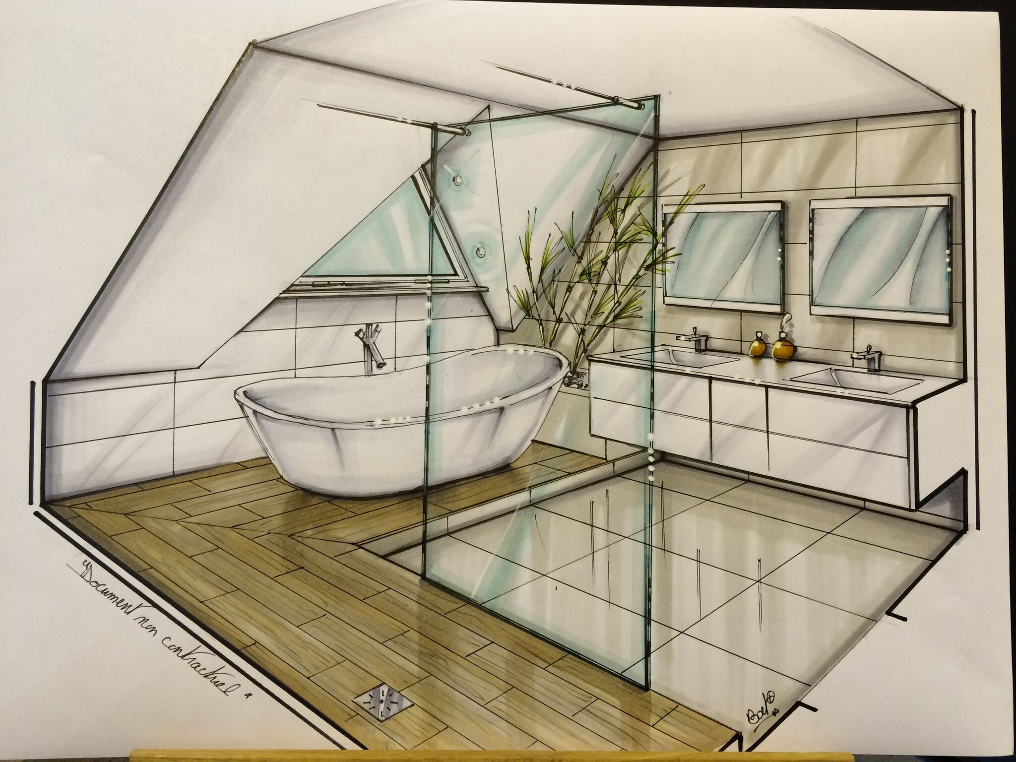 Croquis d 39 un projet salle de bain avec grande douche l - Hauteur d un miroir de salle de bain ...