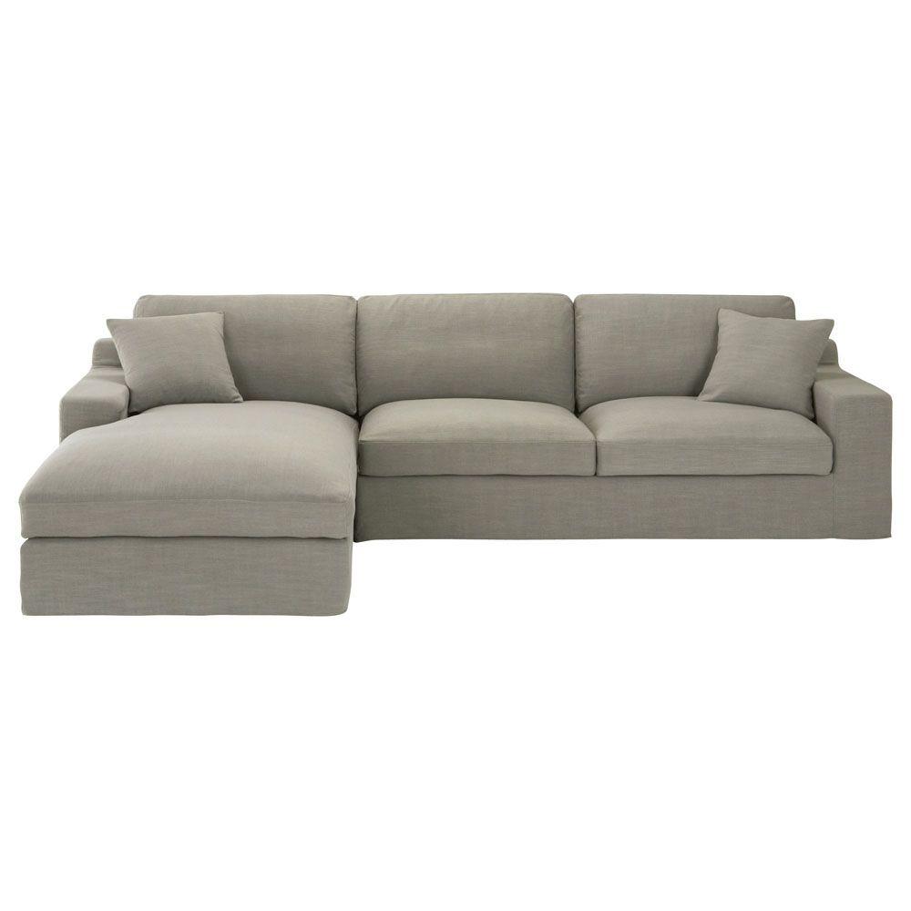 Sof esquinero de 5 plazas de tela monet gris claro stuart for Sofa modular tela