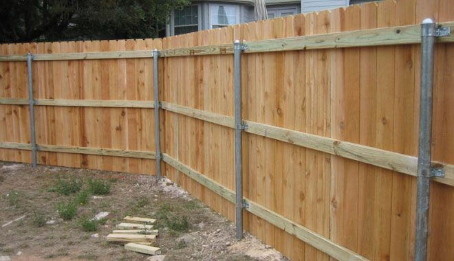 Pressure Treated Pine Rails And Steel Posts Outside In