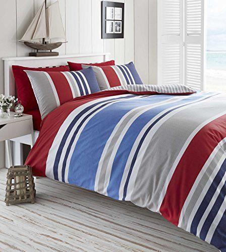 Laguna Duvet Quilt Cover Single Nautical Stripes Bedding Set Red Navy Blue White De Cama Http Www Amazon Co Uk Dp B010 Blue Duvet Striped Bedding Red Bedding