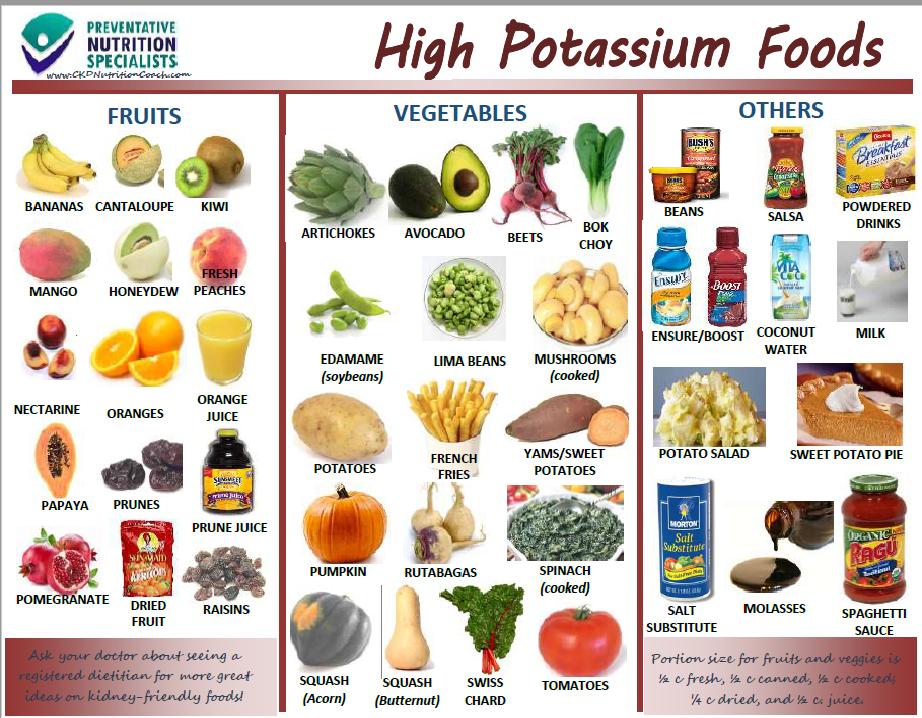 High Potassium Handout Low potassium recipes, Potassium