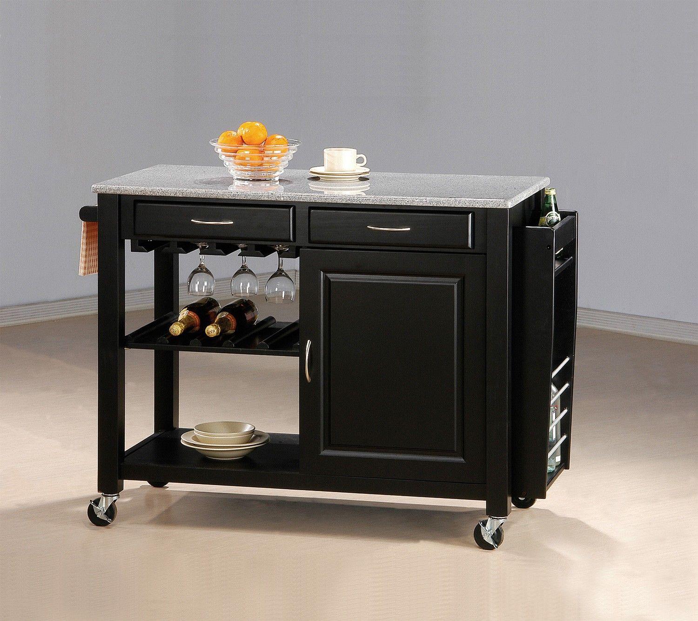 Coaster Pryor Black Kitchen Cart 5870b1 5870b2 Goedekers Com Kitchen Island With Granite Top Rolling Kitchen Island Kitchen Island Cabinets