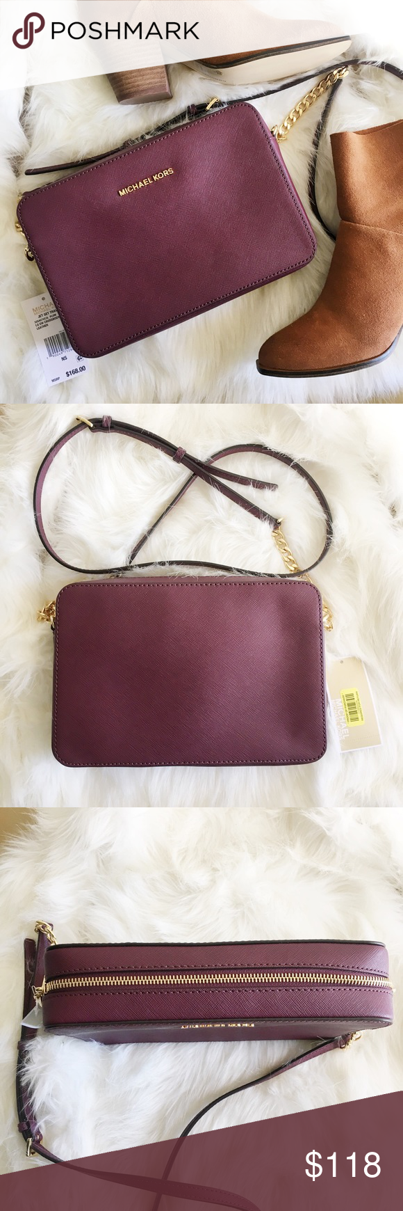 """Michael Kors Plum Jet Set Crossbody -Saffiano Leather -Adjustable Shoulder Strap -Two Interior Pouch Pockets -9 x 4 x .75"""" -Zip Fastening -Fully Lined -Imported MICHAEL Michael Kors Bags Crossbody Bags"""