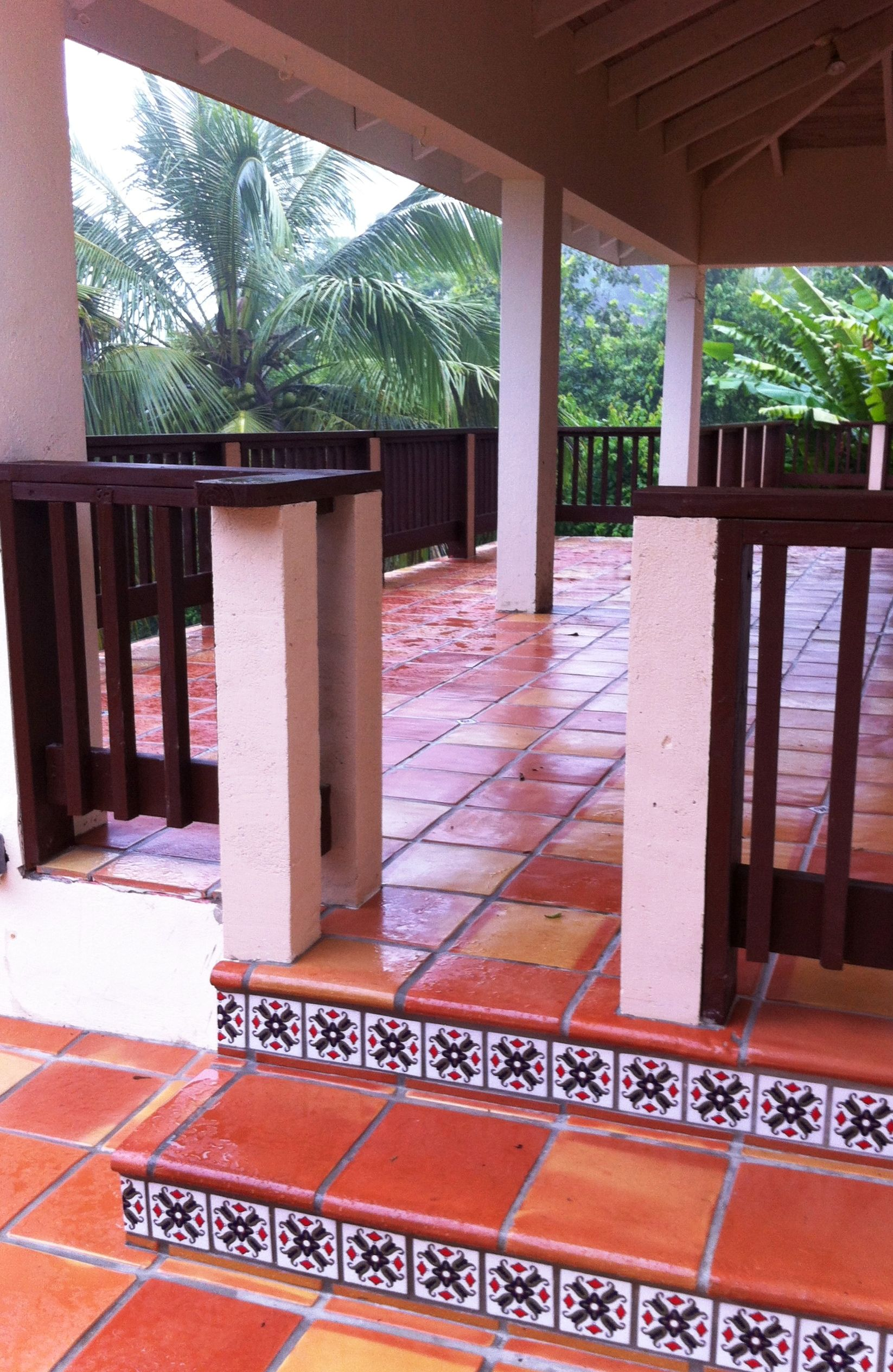 Traditional Saltillo Terracotta tile with Talavera Superior stair ...