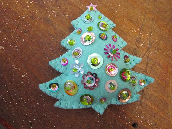 Handmade Felt And Sequin Christmas Tree Aqua Tree Holiday Felt Ornaments Handmade Felt Ornament Toy Story Crafts