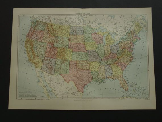 United States Map Original Old Large By DecorativePrints - 1888 us map