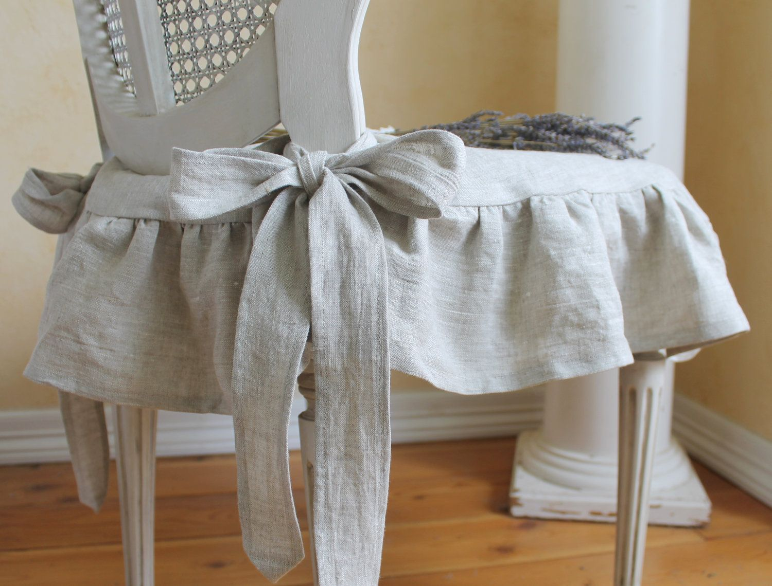 make this for chair the isabella ruffled linen chair slipcover with ballerina ties in