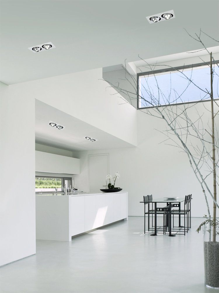 Kitchen Room Interior Design: Minimal White Interior With Duet Led Lighting System