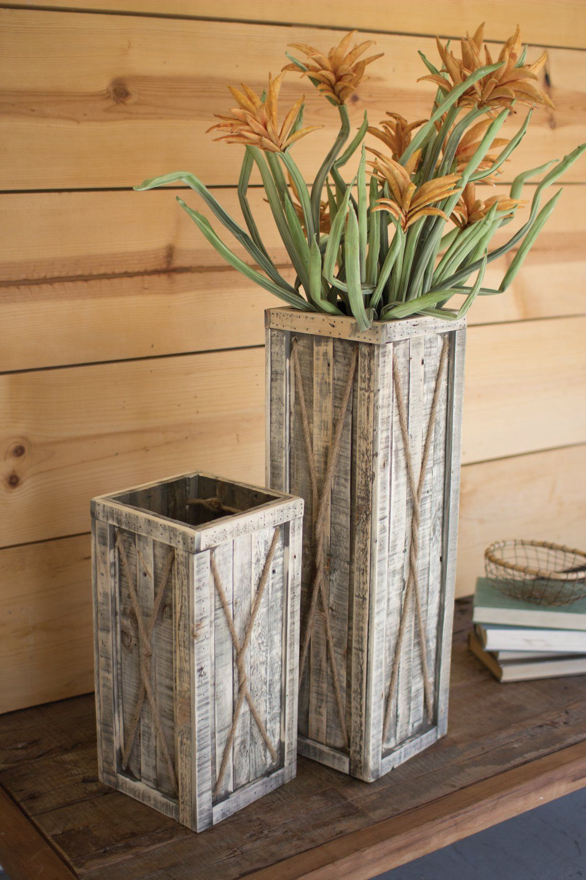 Set Of 2 Tall Recycled Wooden Planters - Natural