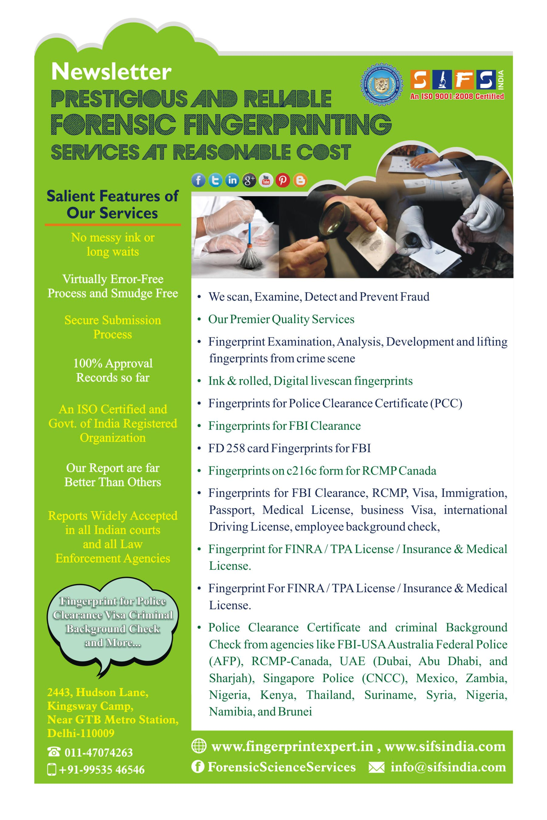 Forensic Science Services Sifs India Is Known To Provides Eminent