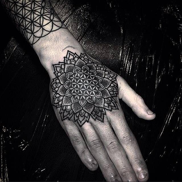 Flower Of Life Mandala Tattoo On The Hand Tattoo Artist Alex Bawn