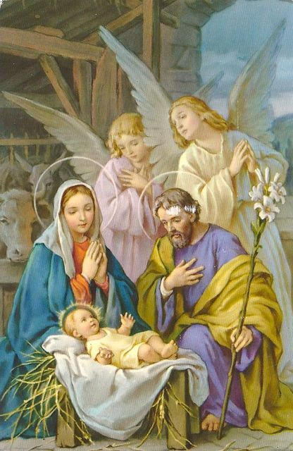 Christmas Mary Joseph Jesus And Angels Holy Family