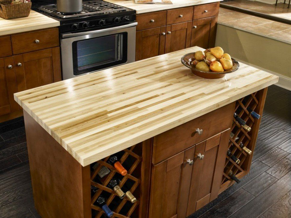 Furniture Butcher Block Laminate Countertops For Kitchen Island With Maple Wood Cabinet And Wine Rack Storage Small Es Ideas