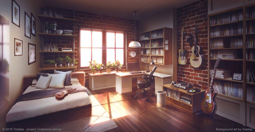 Bed Room - Dusk - Visual Novel Background by giaonp ...