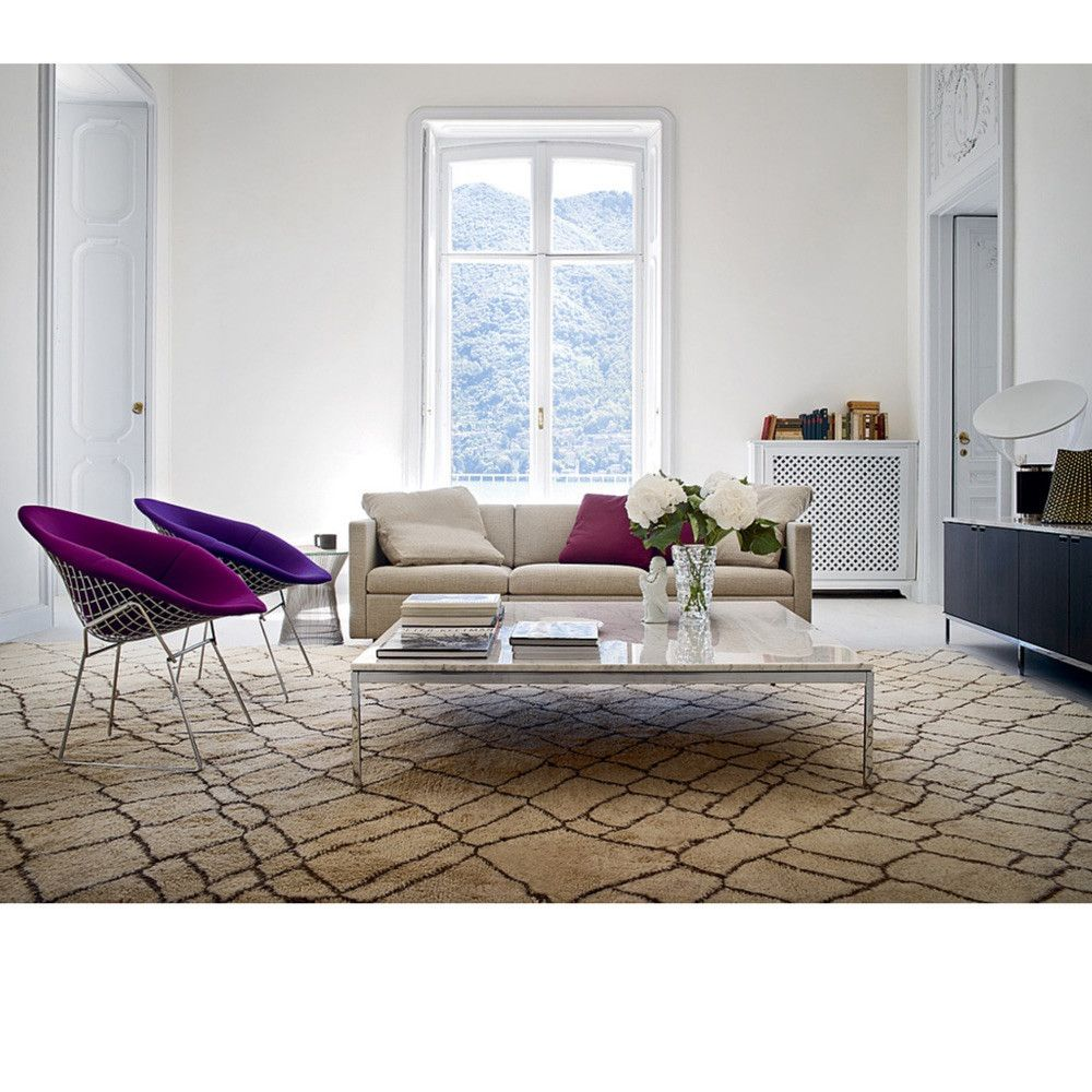 Florence knoll coffee table in room with bertoia diamond chairs and charles p - Bertoia coffee table ...