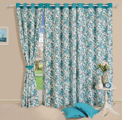 Buy Swayam Printed Eyelit Window Curtain Turquoise Curw