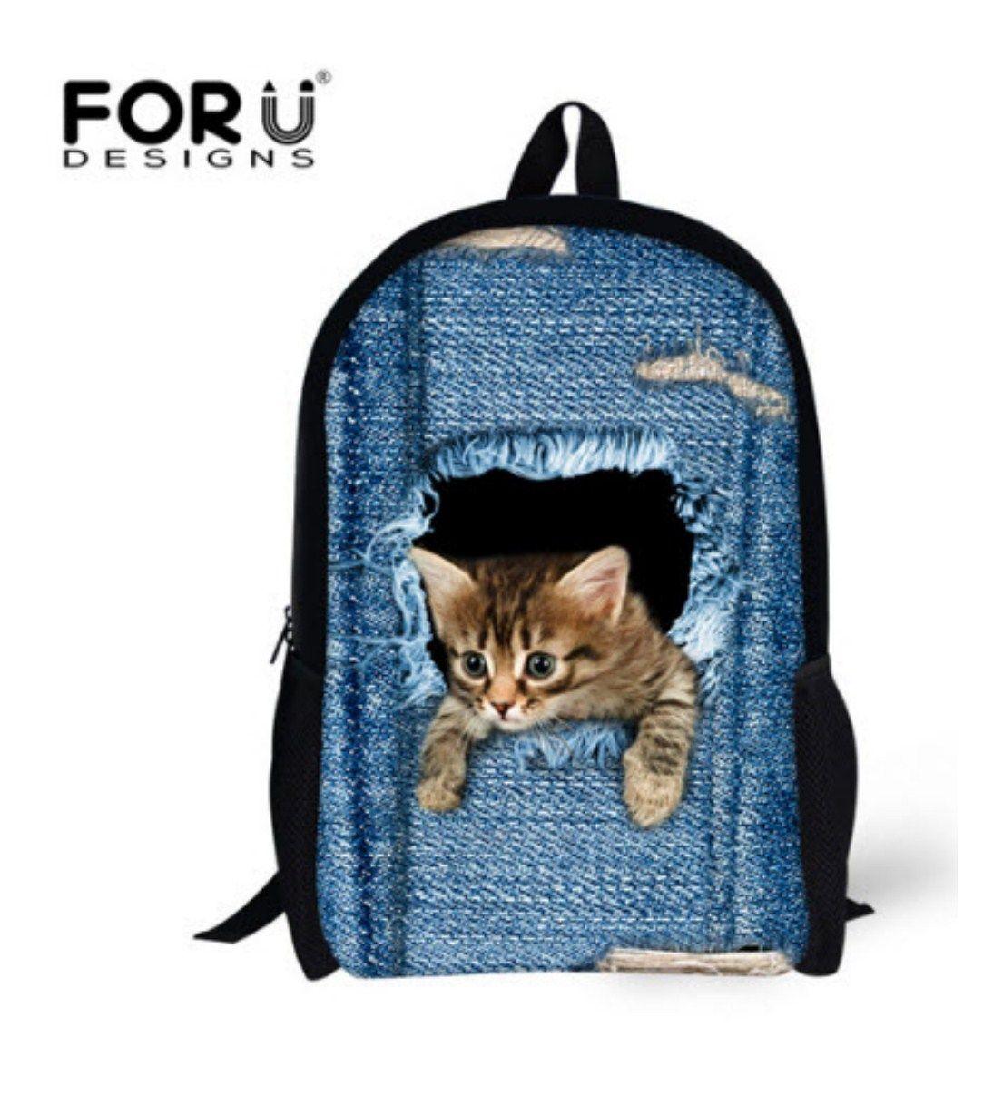 C3301C Denim Children School Bag For Girls Cute Cat Dog Head Kids Schoolbags  3D Cartoon Animal School Backpack Outdoor Sport Mochila 41524d2a9dbc0