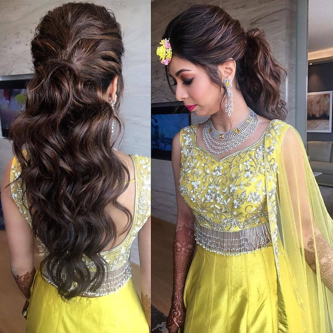 Lehenga In Yellow Lehenga Hairstyles Simple Hairstyle For Saree Traditional Hairstyle
