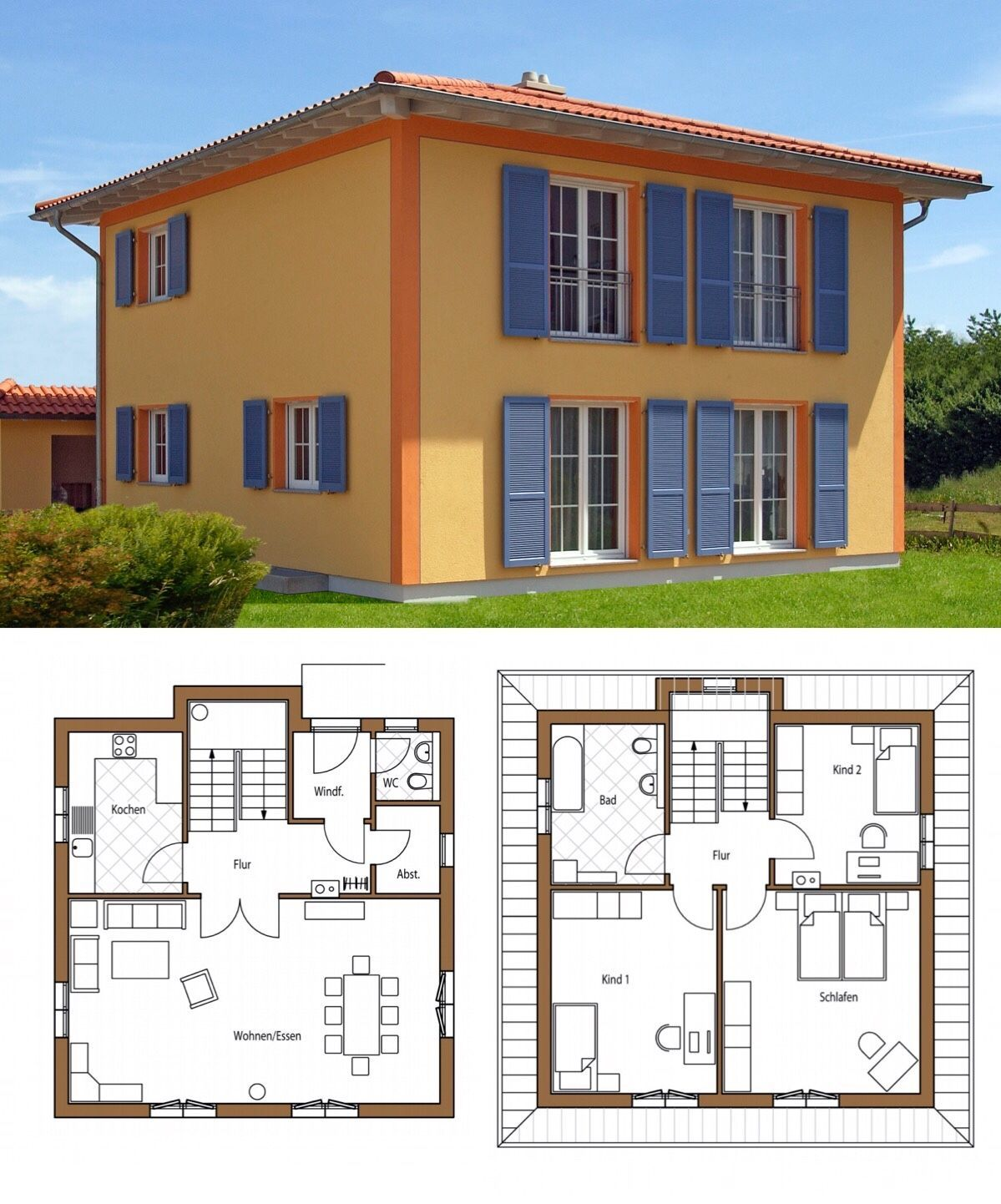 Mediterrane Landhaus Stadtvilla Neubau mit Zeltdach