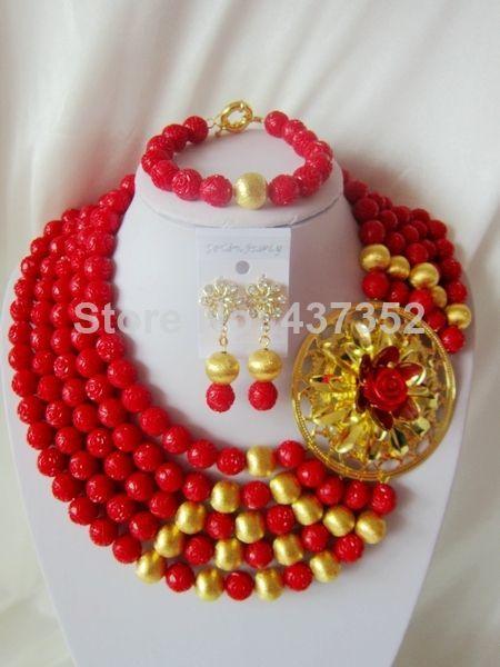 09065d692e Handmade Nigerian African Wedding Beads Jewelry Set , Red Artificial ...