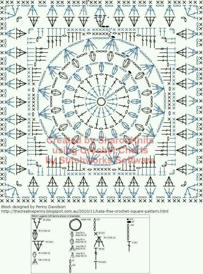 Granny square | вязание | Pinterest | Cuadrados, Ganchillo y Patrones