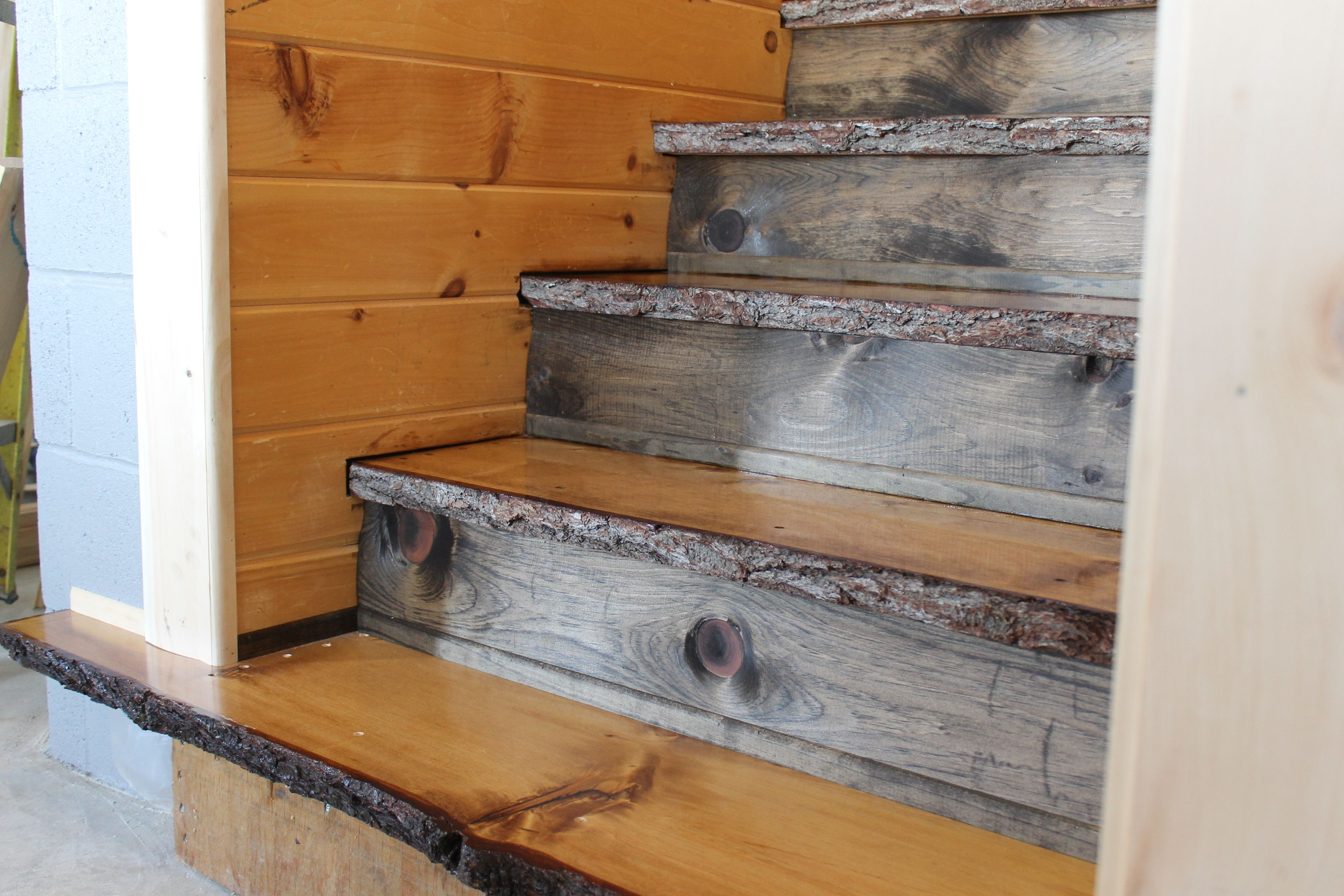 Natural Edge White Pine Stair Treads With Red Pine Risers Wood | Live Edge Stair Treads | Stained | Build In Bench | Douglas Fir | Dark Risers | Barnwood
