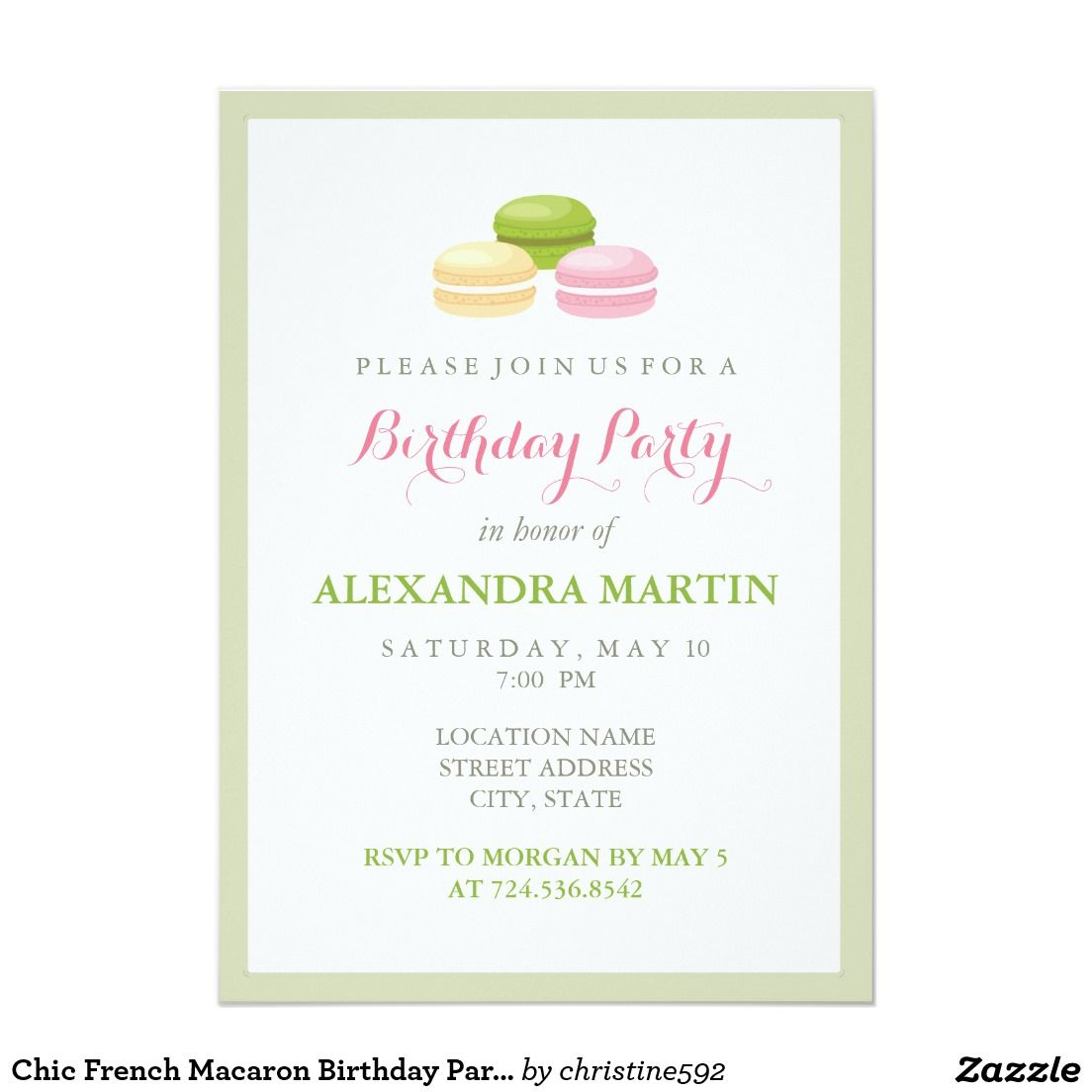Chic french macaron birthday party card french macaron chic french macaron birthday party 5x7 paper invitation card stopboris Image collections