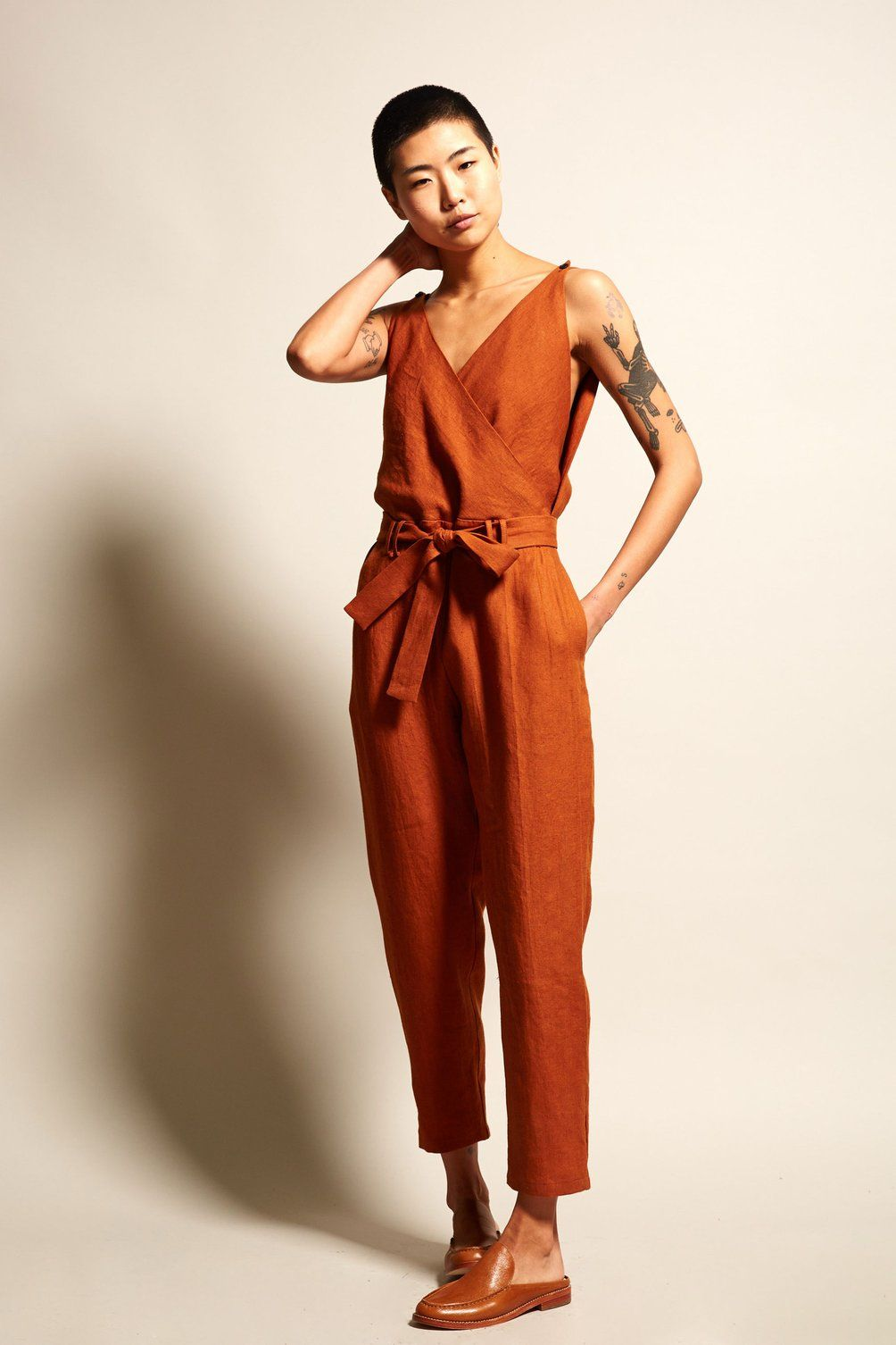 9feb74cfd9 No.6 Taylor Jumpsuit in Sienna Linen silhouette Summer Jumpsuit